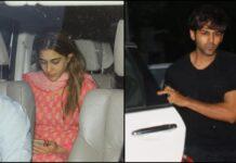 Kartik aryan and Sara ali khan at the airport