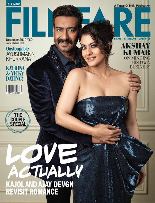 Kajol and ajay devgn  Filmfare's december 2019 cover