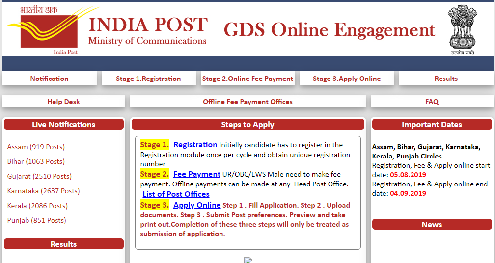 India Post Recruitment 2019,  10066 Gramin Dak Sevak (GDS) Posts at appost.in 9