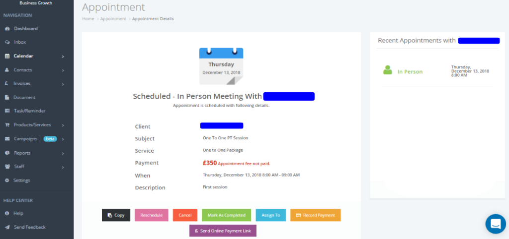 personal trainers scheduling software
