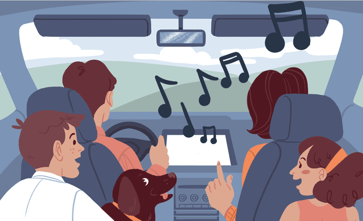 a family singing in the car