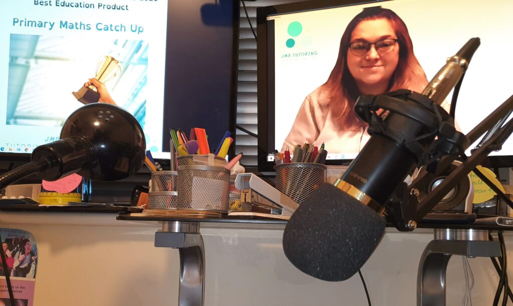 Dual monitors and podcast microphone