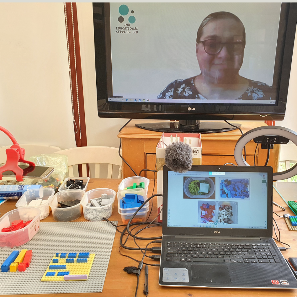 Judy Brice and a laptop and Lego