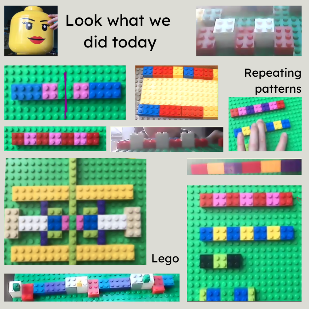 A collage of screenshots from during the lesson Lots of Lego patterns