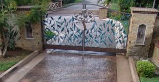 stamped concrete driveway ashlar pattern