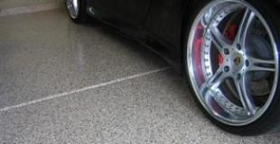 epoxy garage flooring with dark grey chips
