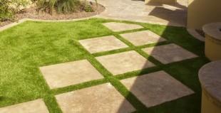decorative stamped textured concrete patio squares