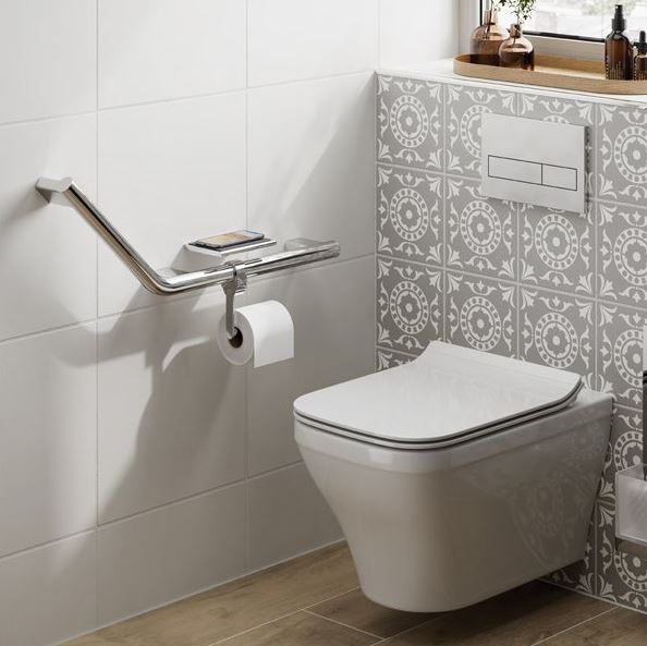 Angled Grab Rail with Toilet Roll Holder and Shelf with Anti-Slip Mat