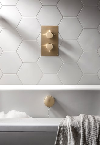 MPRO Thermostatic Shower Valve With 2 Way Diverter Brushed Brass
