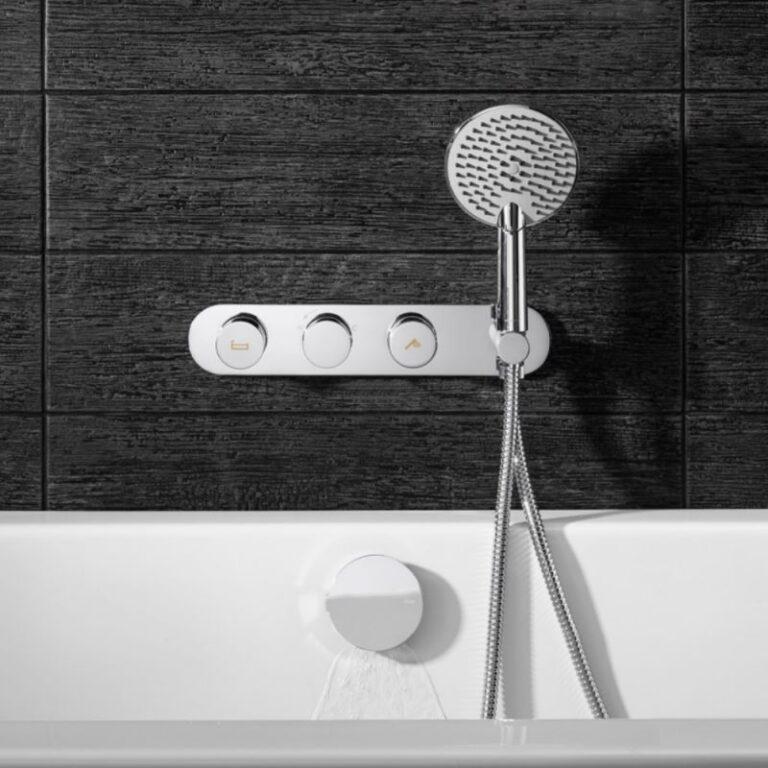 Dial Central Trim Thermostatic Bath Valve with 2 Way Diverter & 3 Mode Handset