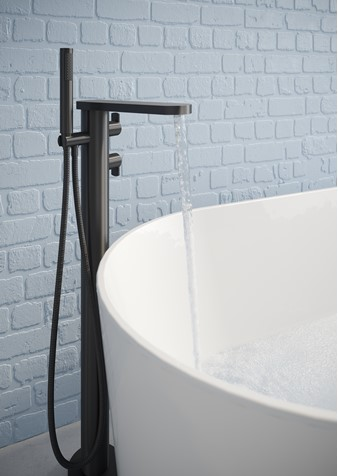 Wisp Thermostatic Bath Shower Mixer with Kit Matt Black