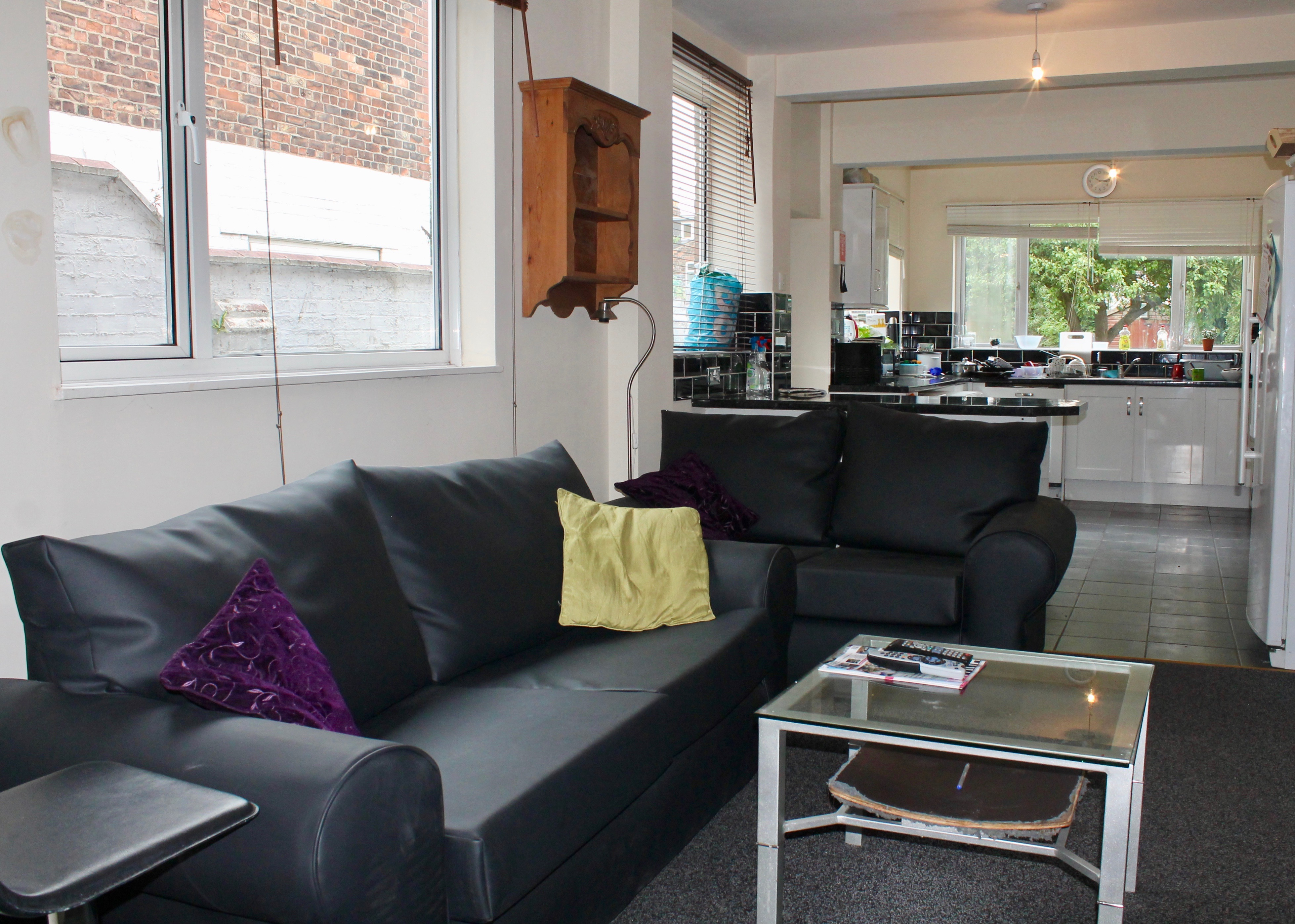 Kitchen, living area with sofa, tv and sky box
