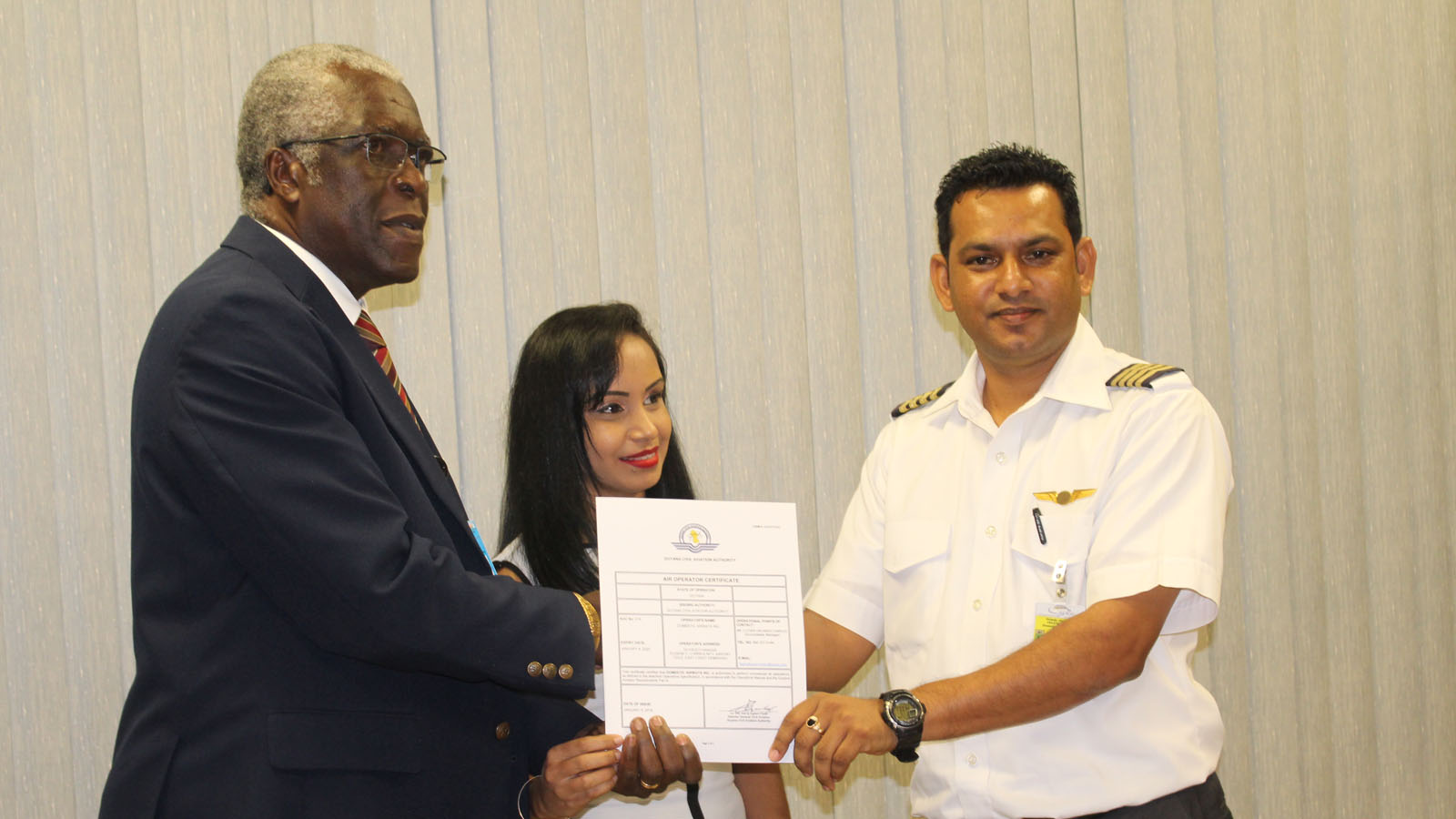 Domestic Airways presented with Air Operator Certificate