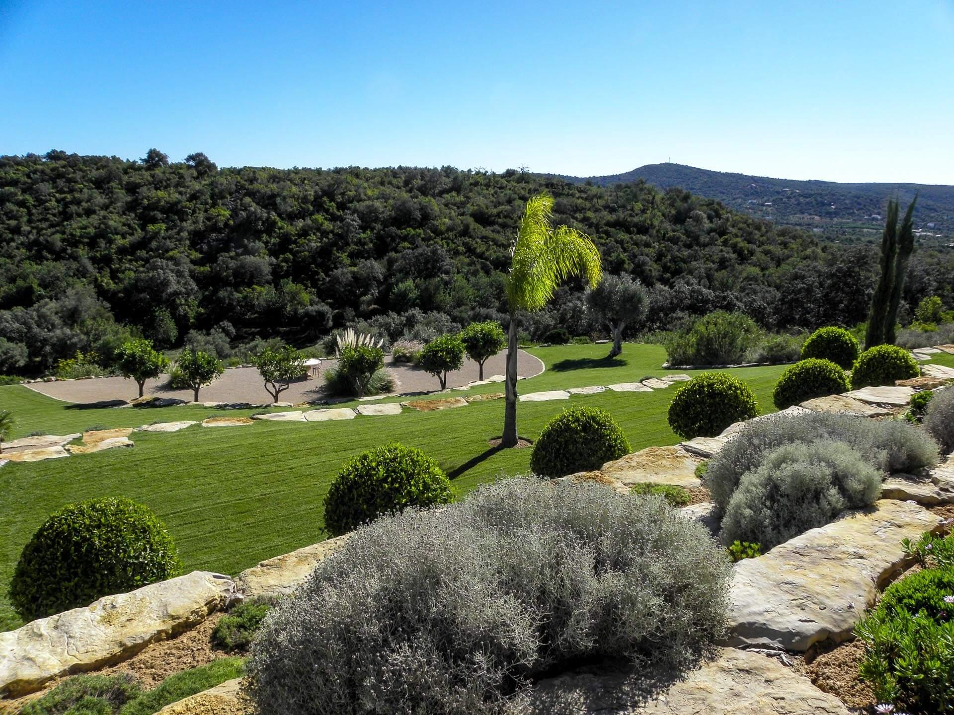 Algarve Mediterranean country garden lawn