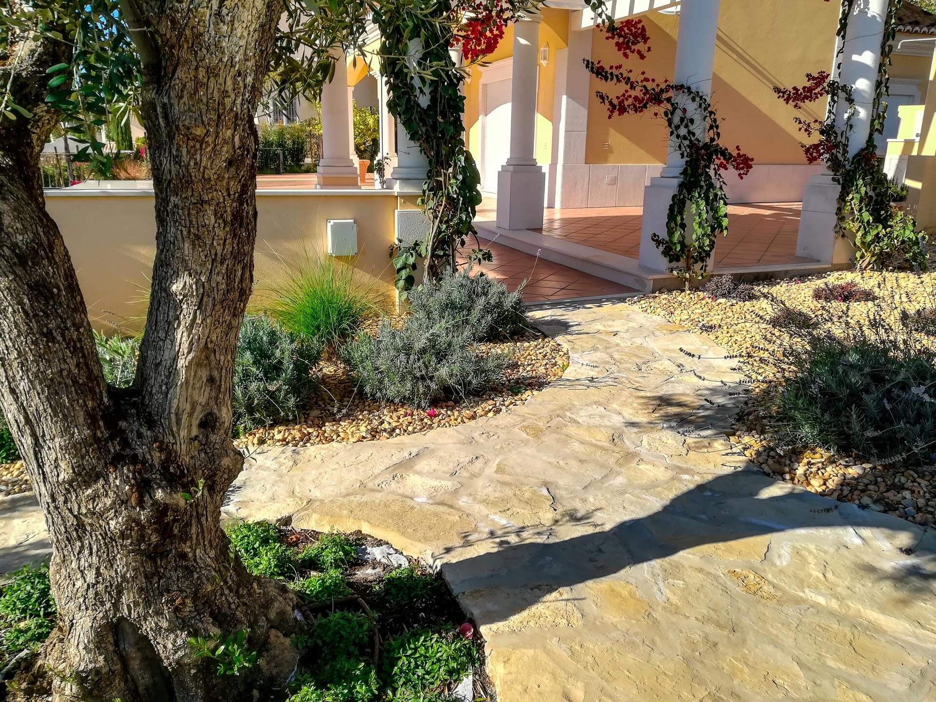 low water garden with pathway construction algarve