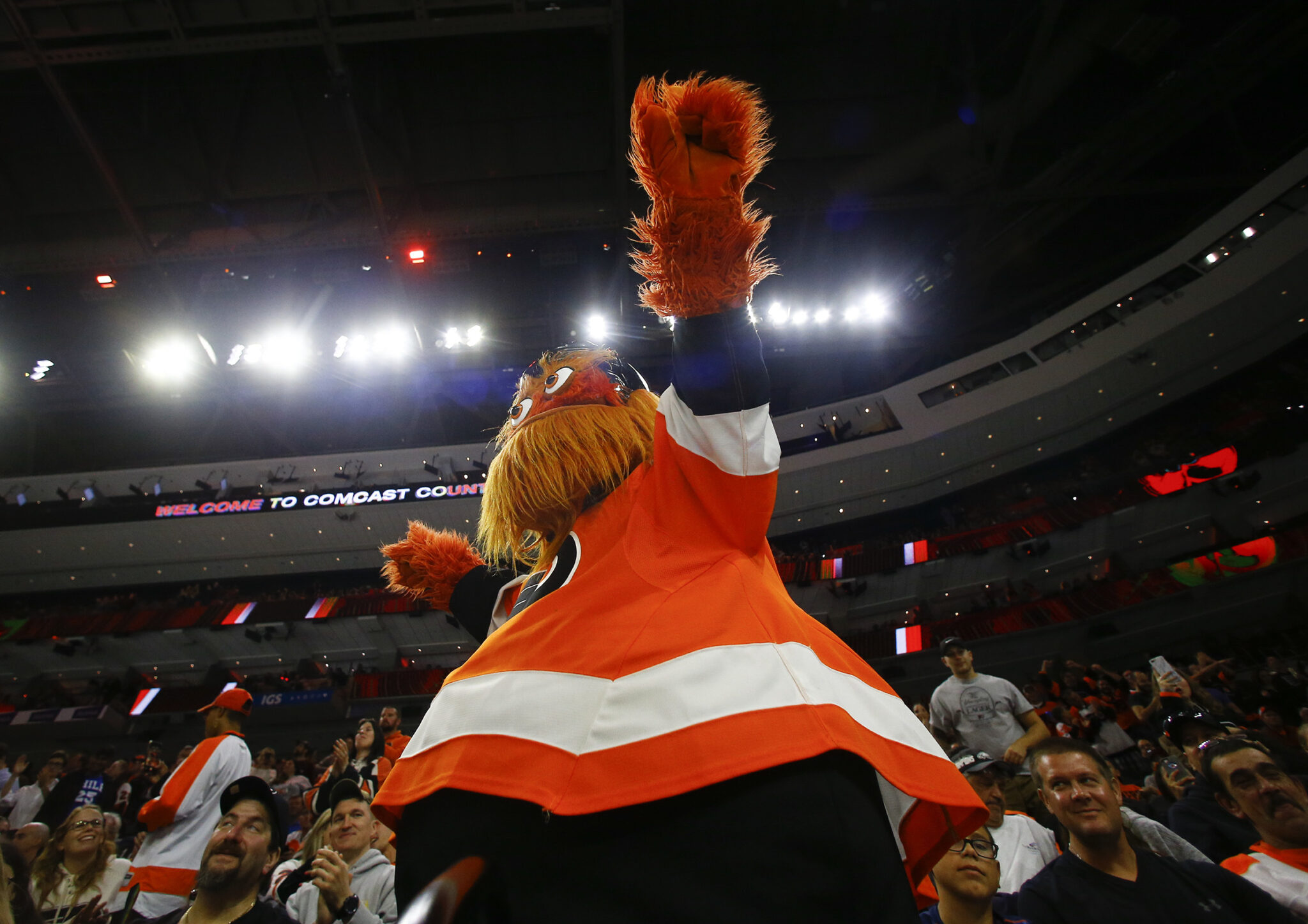 Flyers mascot Gritty with fans during a Flyers preseason game against the New York Rangers on Saturday, September 21, 2019 in Philadelphia.
