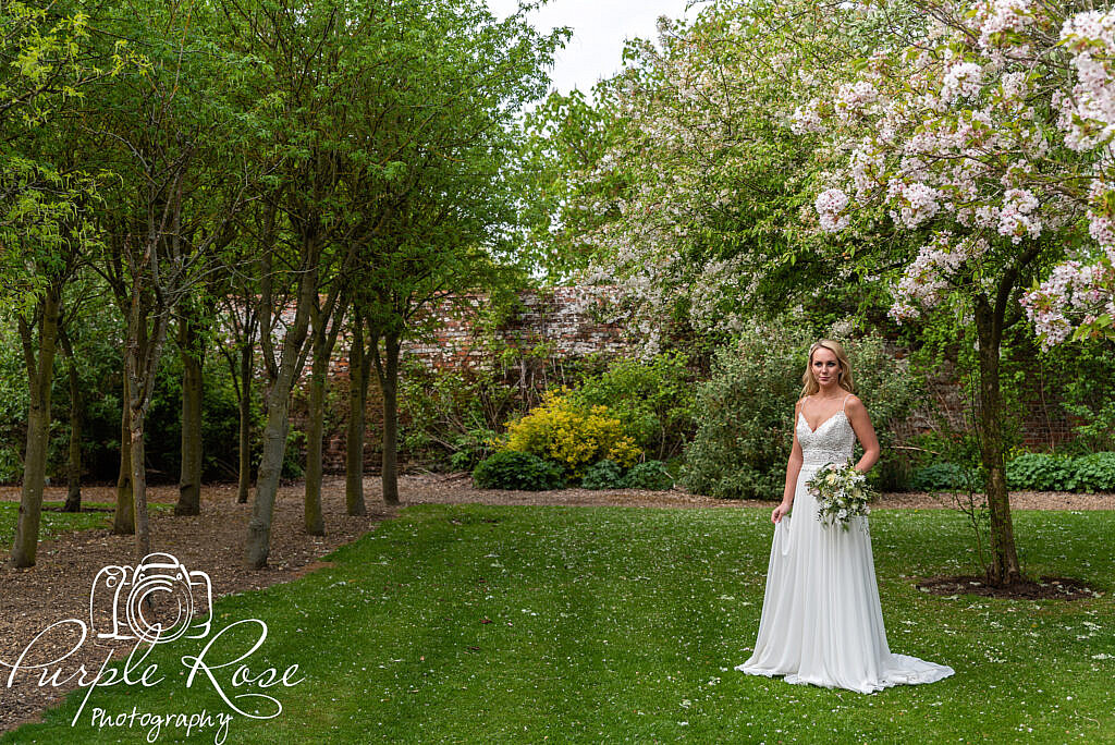 Bride standing among cherry blossom