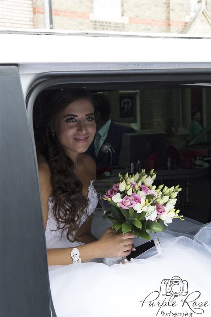 Bride arriving for her wedding ceremony