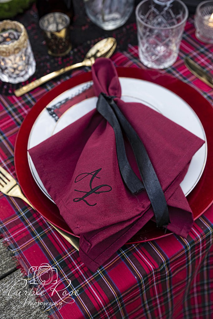 Gothic wedding table setting