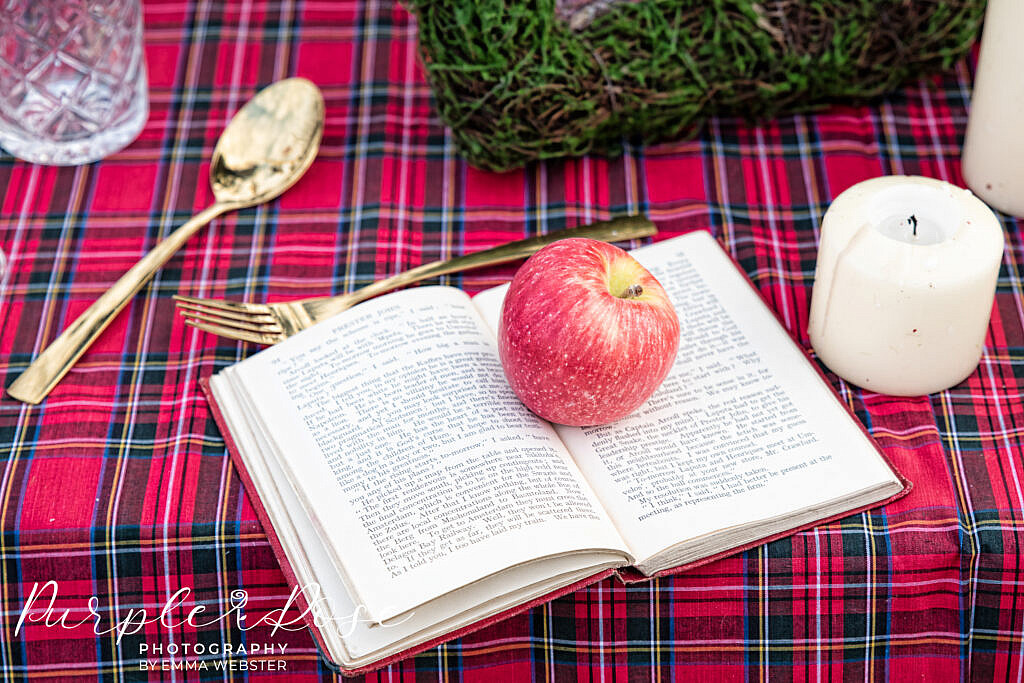 Apple sat on a book