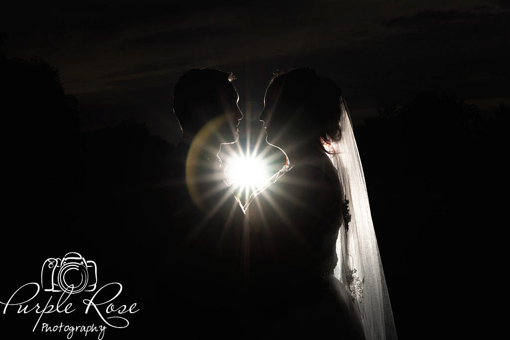 Starburst between bride and groom
