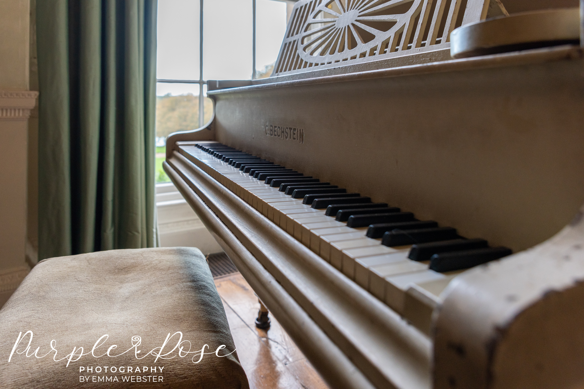 Close up of a piano at Kelmarsh Hall Northampton