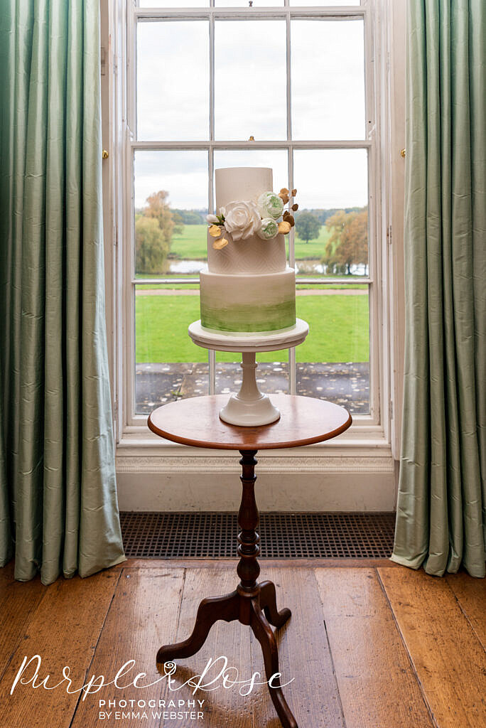 Green and white wedding cake in Kelmasrsh Hall Northampton