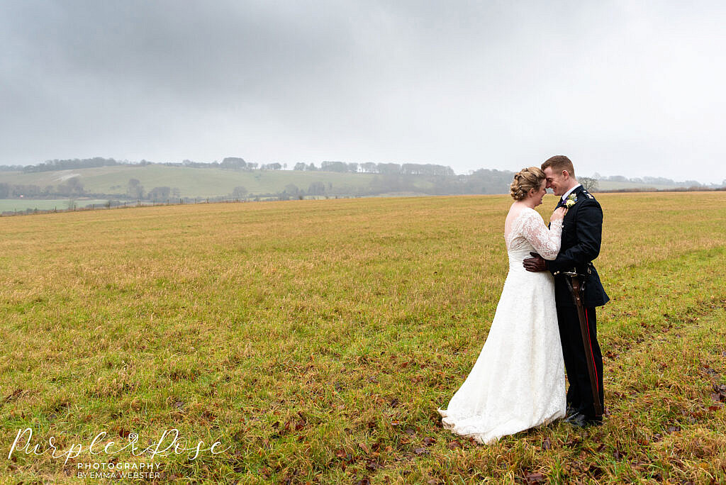 Bride and groom on an overcast day