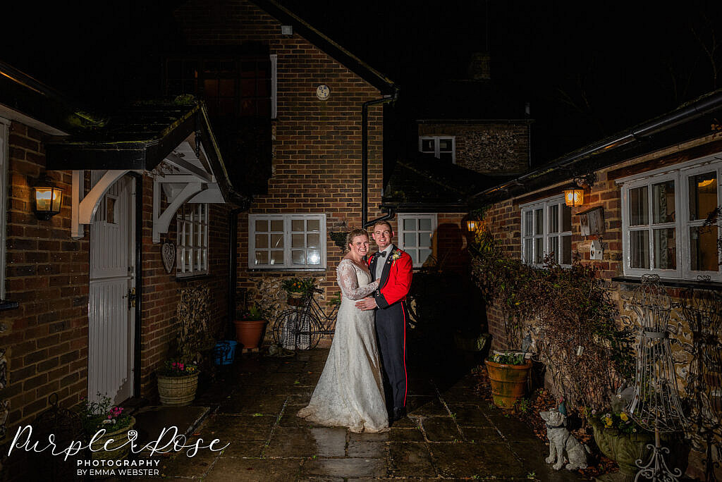 Nigh time photo of bride and groom