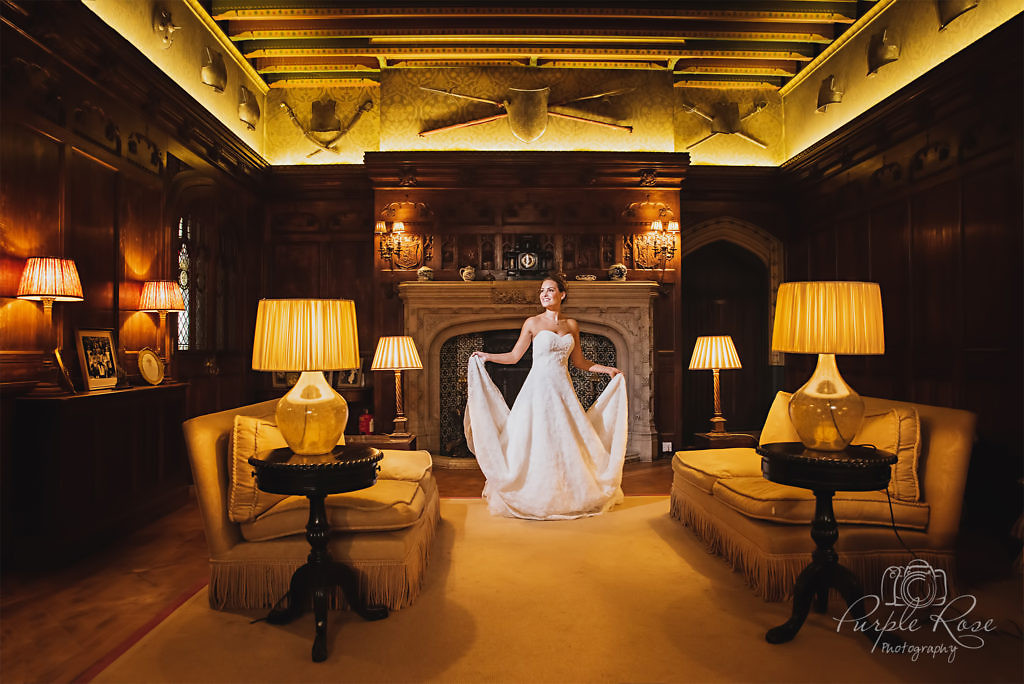 Bride standing in a room in wedding venue