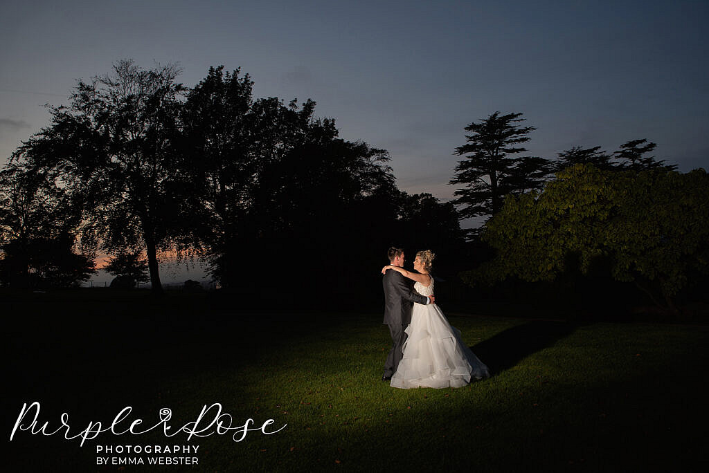 Bride and groom at blue hour