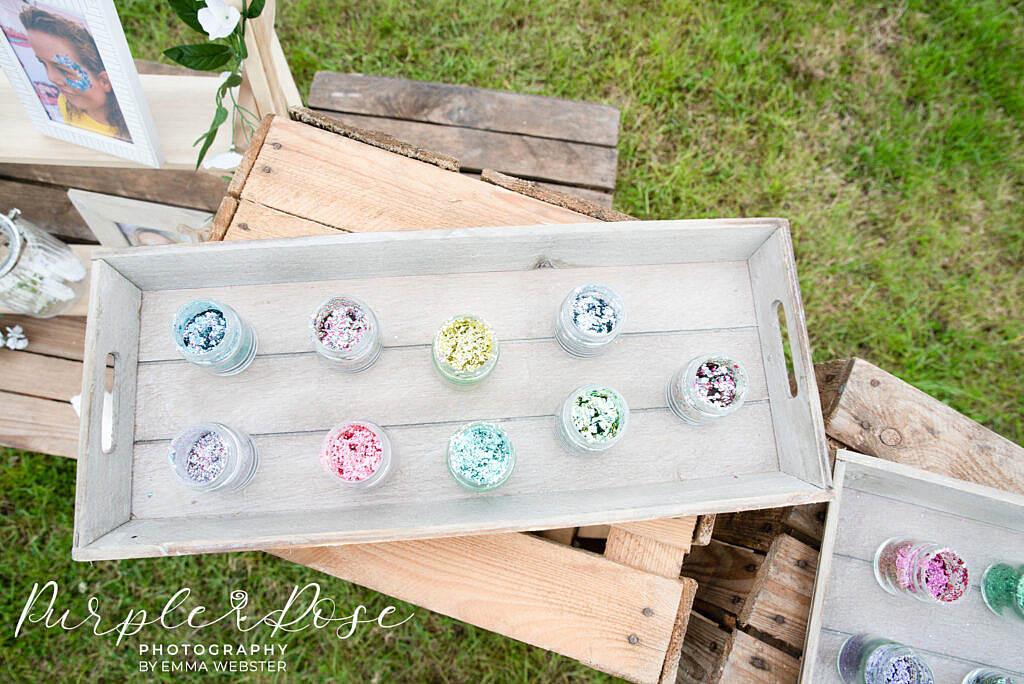 Wedding glitter pots