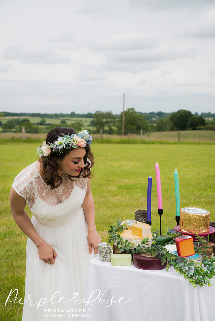 bride looking at her cheese platter