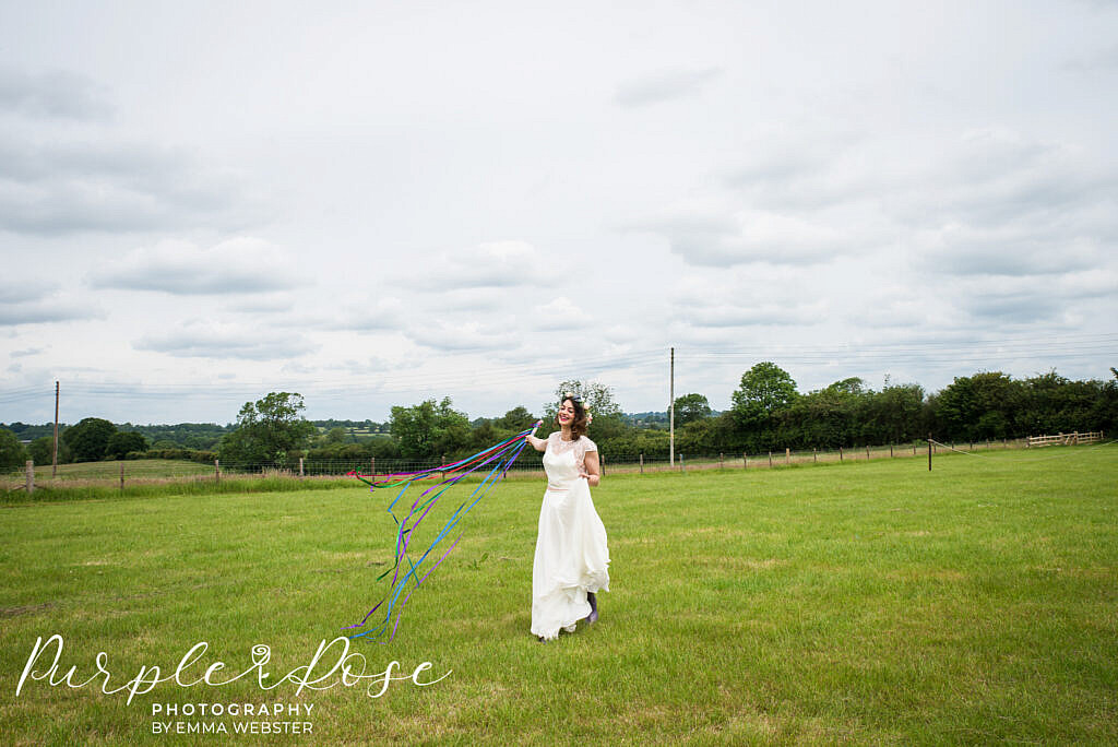 bride in front of a stormy sky