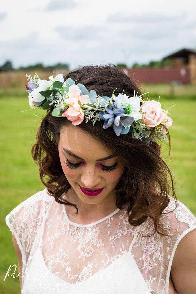 Bride wearing a flower crwon