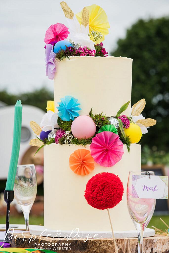 brightly decorated wedding cake