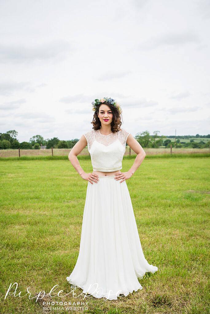 Bride looking confidently into the camera