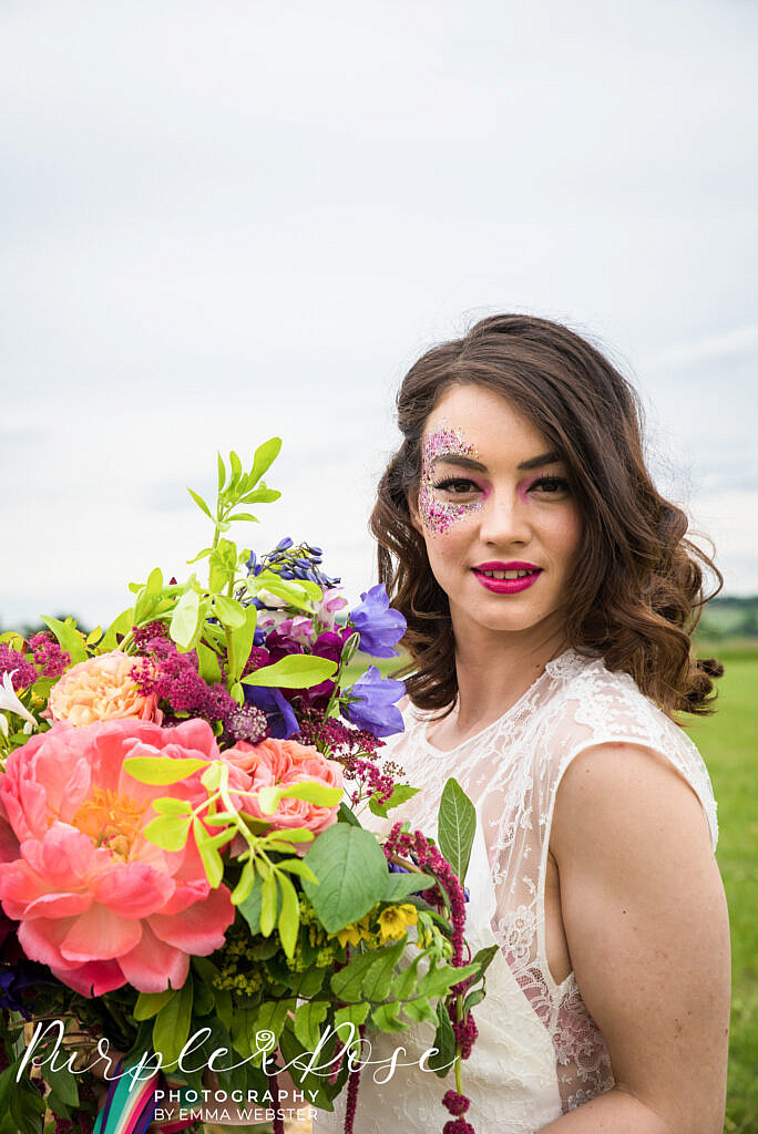 bride looking into camera