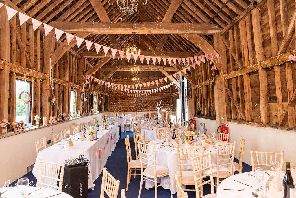 Barn decorated for a wedding