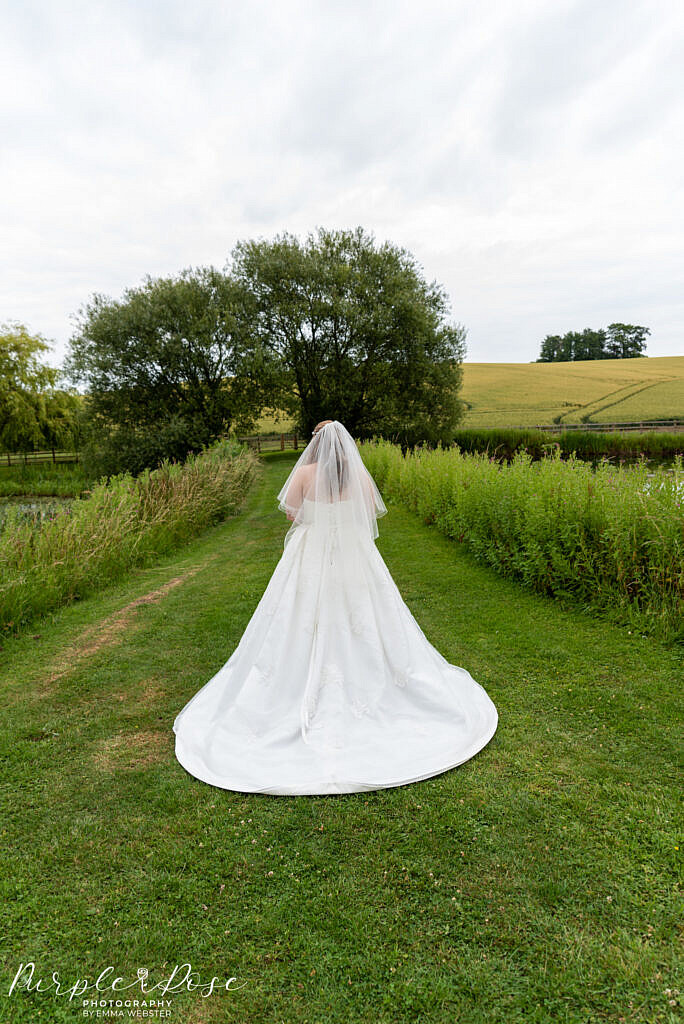 Bride walking in the venues grounds