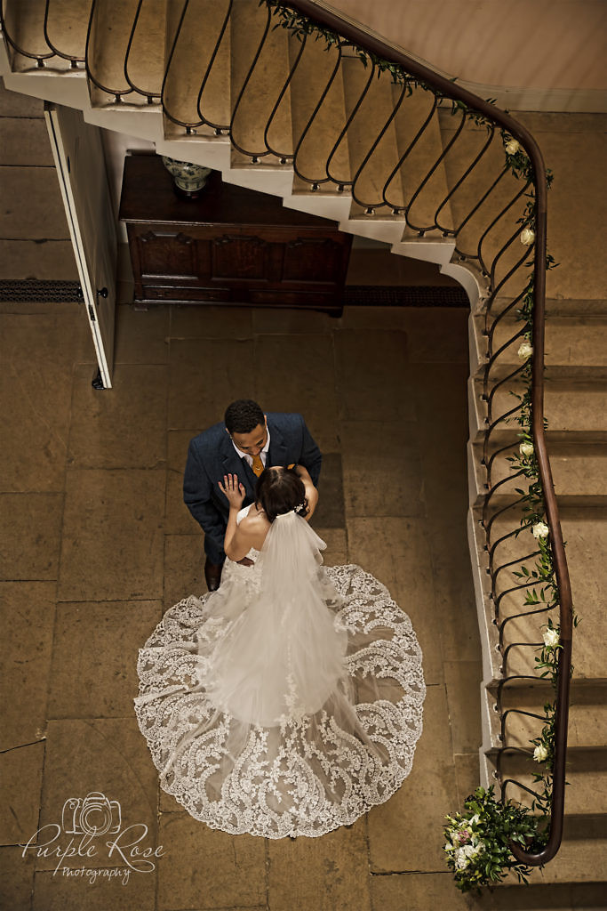 Aerial view of bride and groom