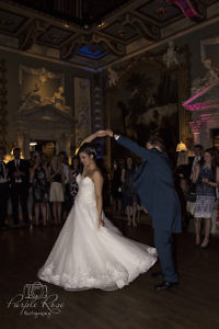 Bride and groom dancing on during their first dance