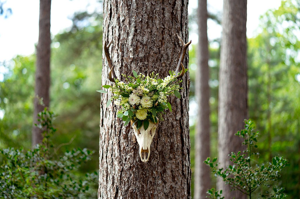Wedding flowers in a forest on an animal skull