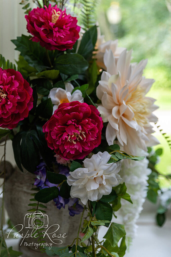 Close up of flowers in a urn