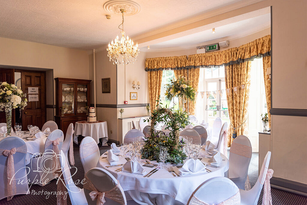 Wedding reception room at The Woodlands Manor Bedford