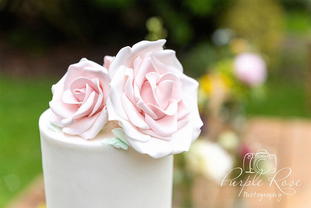 Sugar craft flowers on a wedding cake
