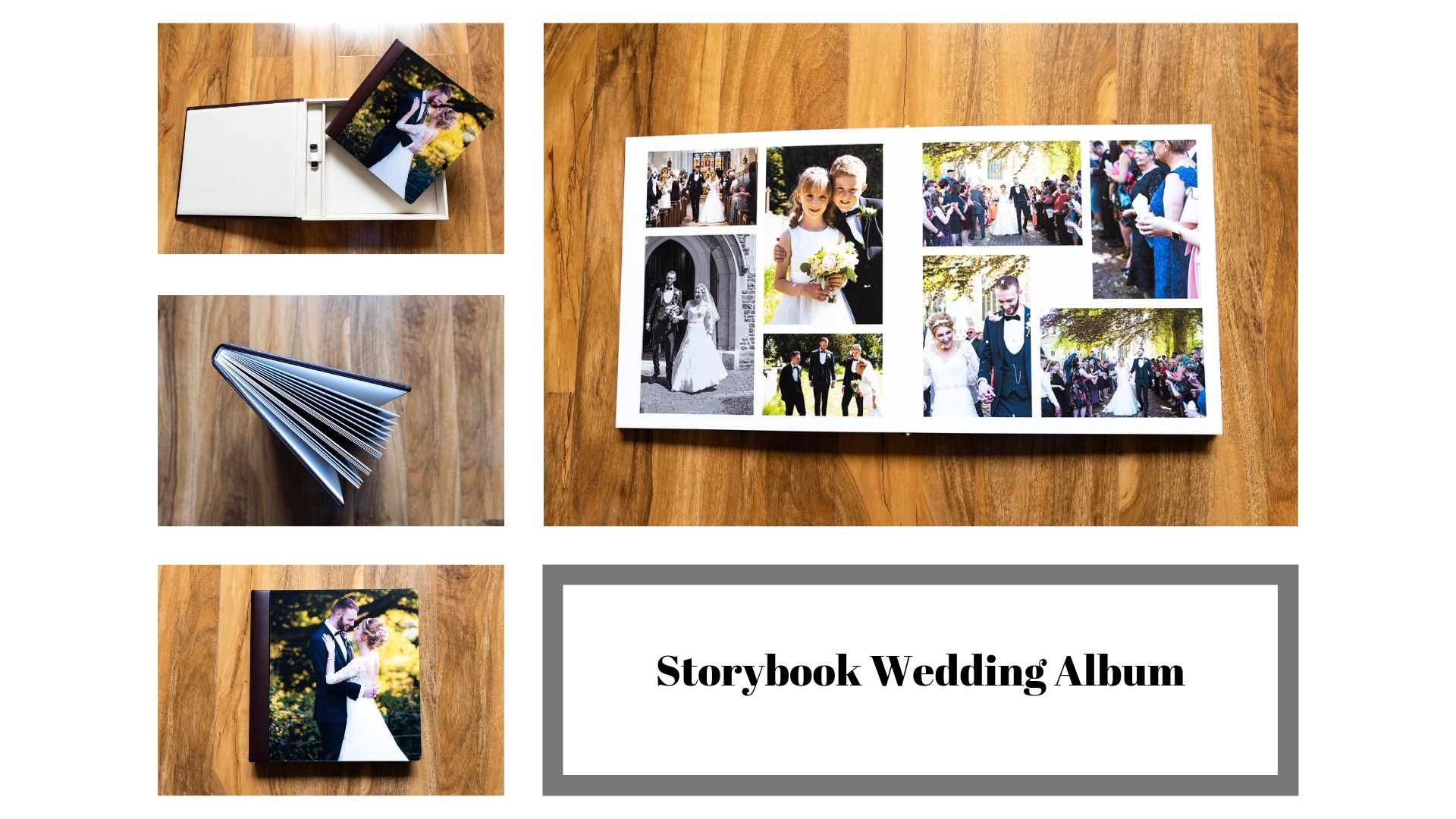 Collage of storybook wedding album
