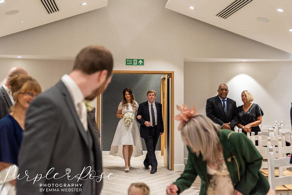 Bride entering the wedding ceremony