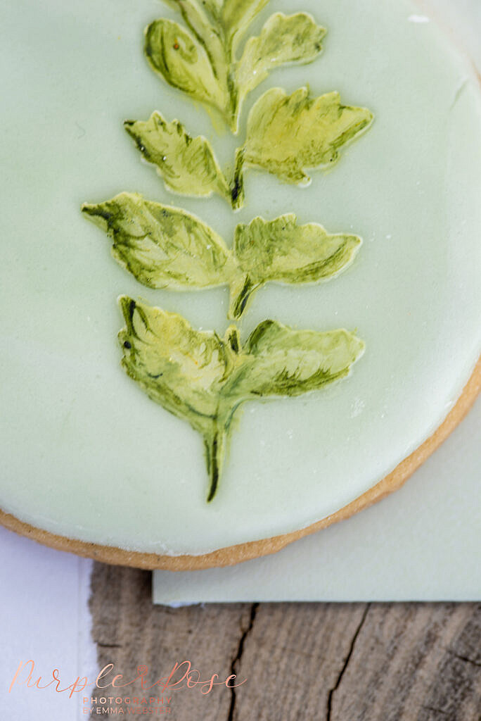 Close up of a green biscuit