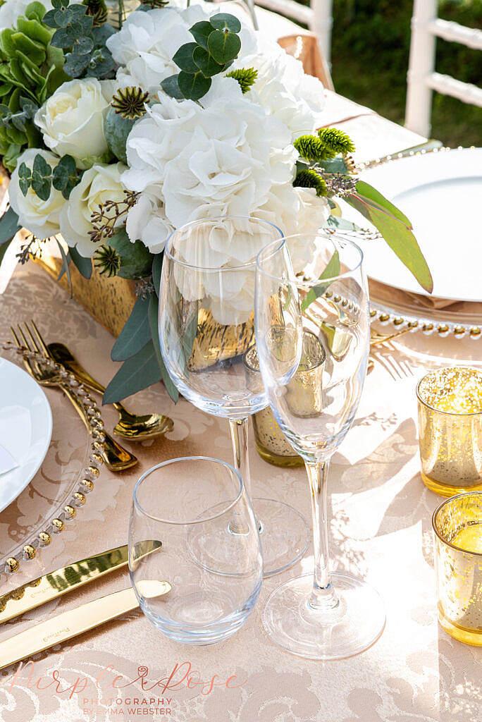 Wine glasses at wedding reception